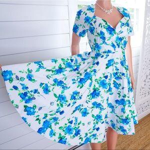 Dresses & Skirts - NEW Blue Floral Vintage inspired Dreamy Dress